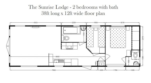 Sunrise Lodge 2 bed bath Floor Plan