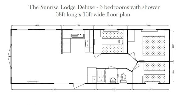 Sunrise Lodge Deluxe 3 bed shower Floor Plan