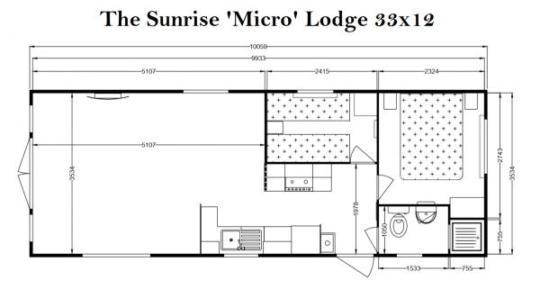 Sunrise Micro Lodge 2 bed Floorplan